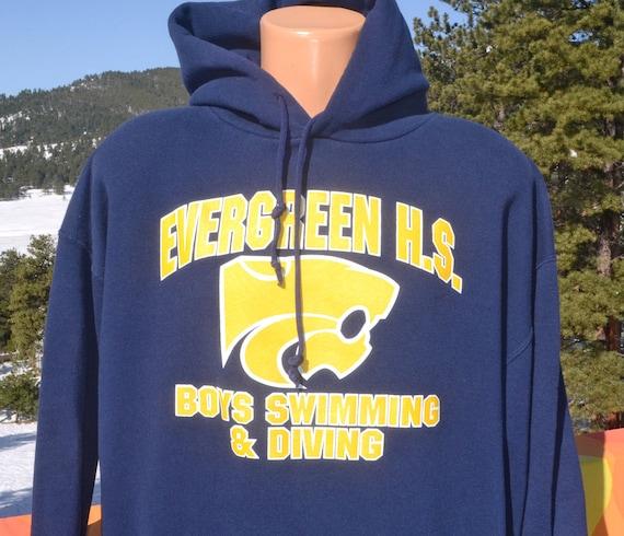 Vintage 90s hoodie sweatshirt evergreen high school swim - Evergreen high school swimming pool ...