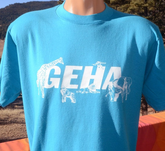 9c9dbdc30e80 vintage 80s t-shirt GEHA safari animals Large Medium giraffe