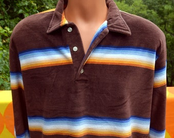 vintage 70s velour shirt polo SURF stripes sweater brown blanket stripe Large XL oscar california