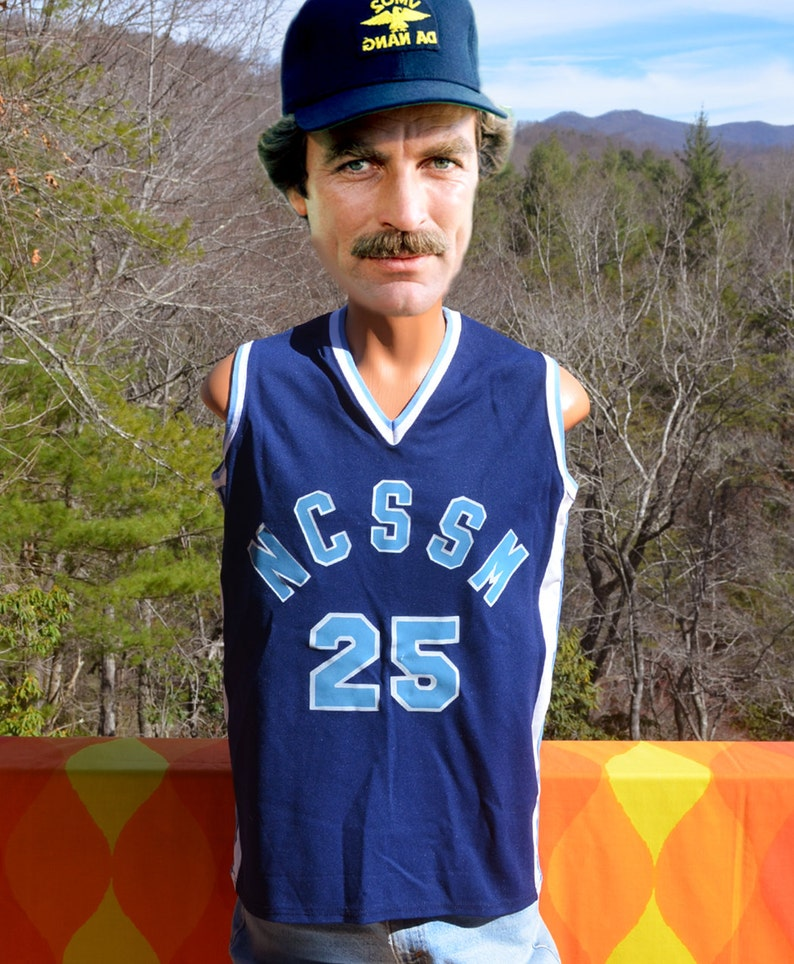 f29be59b3ad Vintage 80s basketball jersey NCSSM high school 25 blue white   Etsy