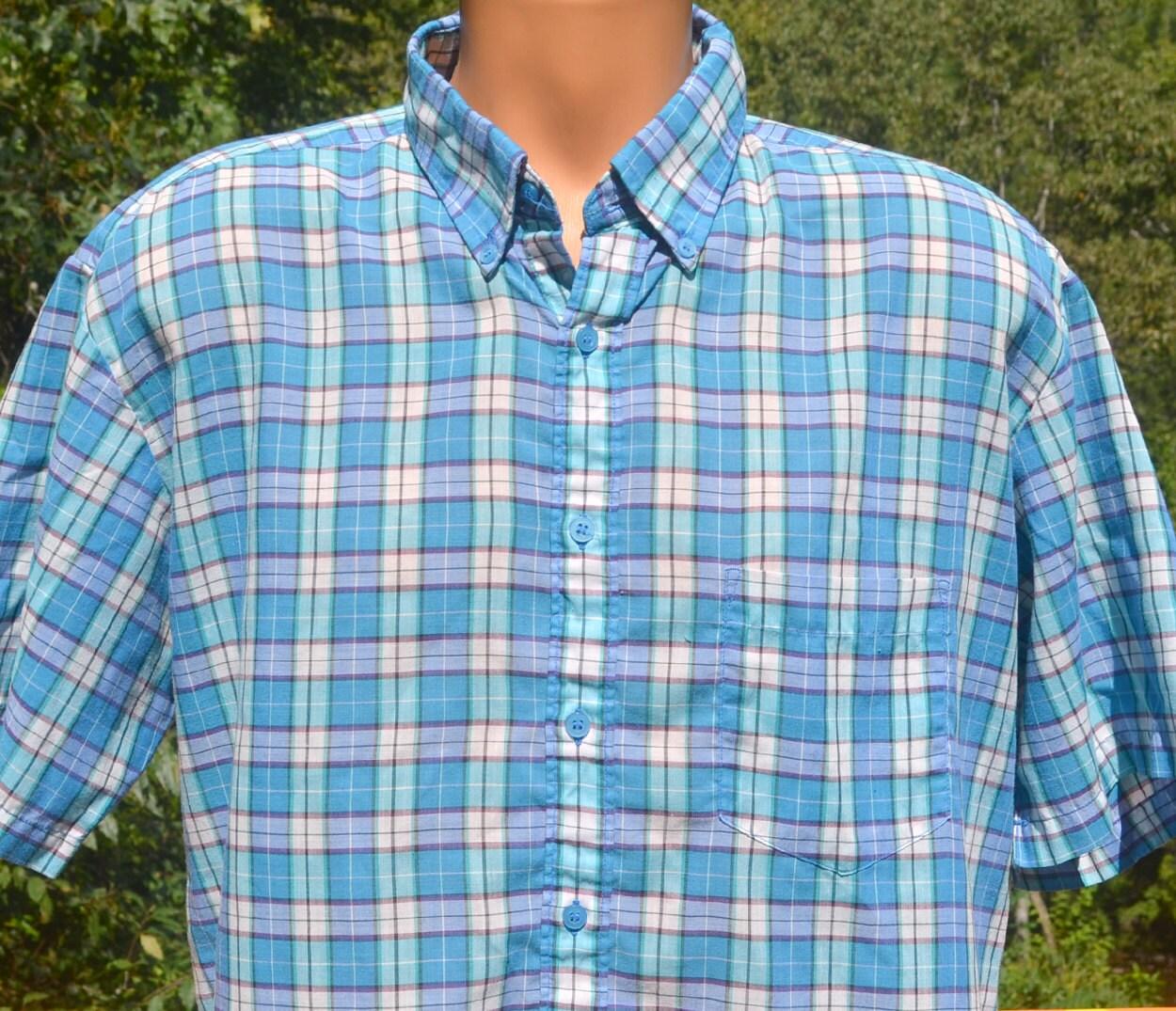 80s Tops, Shirts, T-shirts, Blouse   90s T-shirts Vintage 80S Shirt Plaid Short Sleeve Button Down Teal Large Xl Soft Thin $20.50 AT vintagedancer.com