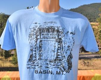 vintage 80s t-shirt merry widow HEALTH MINE montana tee Large Medium