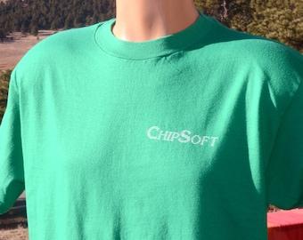vintage 80s t-shirt above CHIPSOFT software computer turbotax tech tee Large XL