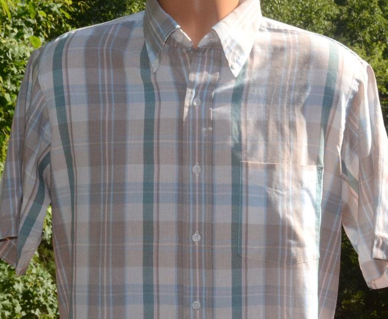 vintage 70s shirt PLAID short sleeve button down light brown Medium Large saddlebred 80s