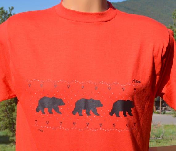 515ab9ee04da5 Vintage 80s tee ASPEN colorado bears nature ski travel t-shirt