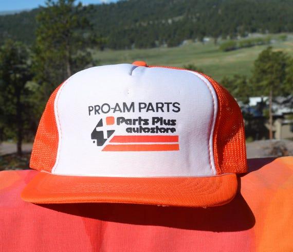 6ce136c84ab46 80s vintage snapback trucker mesh hat PRO-AM AUTO parts