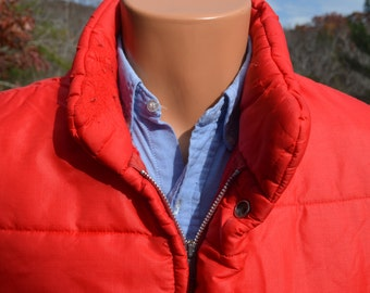 vintage 70s ski jacket puffy RED quilted poly nylon coat Medium puffer 80s