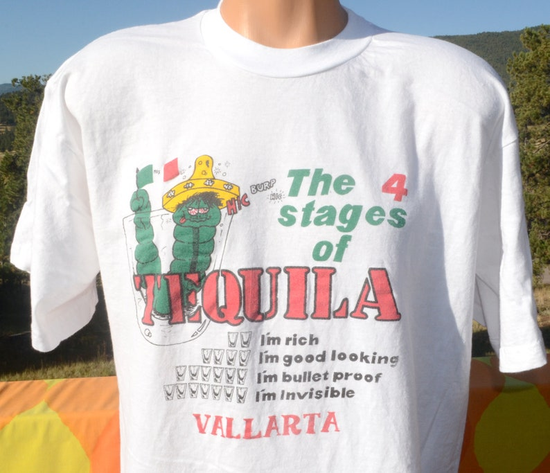 8330b8f1d Vintage 80s t-shirt TEQUILA 4 stages mexico vallarta funny | Etsy