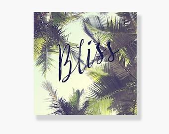 Palm tree canvas gallery wrap, coastal decor, typography wall art, green, summer wall art, coastal wall art, palm tree wall art - Bliss