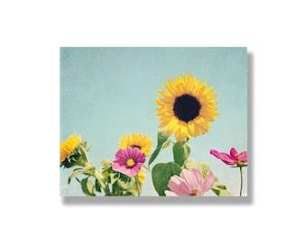 Sunflower canvas art, shabby chic decor, pale blue, yellow, flower photography, flower wall art, cosmos, sunflower art - The Sunshine Garden