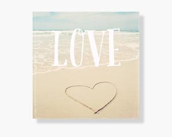 Beach photo canvas art, beach decor, pale blue, beach photography, ocean canvas art, beach photo canvas, love heart, typography - Beach Love