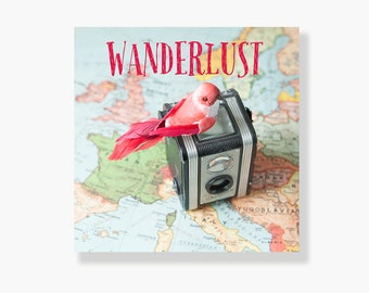 Bird, vintage map and camera typography canvas gallery wrap, world map, pastel, red bird, travel, whimsical, vintage camera art - Wanderlust
