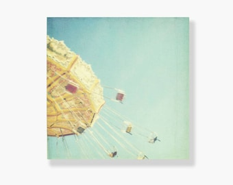 Fairground photo canvas, nursery decor, yellow and blue nursery decor, carnival photography, canvas wall art, whimsical - I Dream of Flying