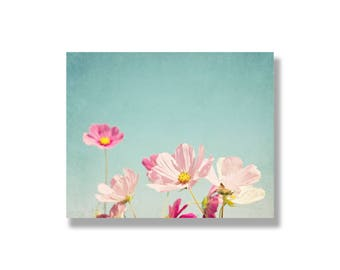 Pink cosmos flower canvas wall art, pink, white, blue, flower art, spring wall art, garden flower photography, nature - Cosmos and Sunshine