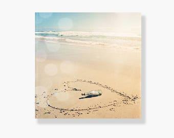 Beach photo canvas gallery wrap, love heart, beach wall art, blue, aqua, waves, bokeh, ocean wall art, beach decor - Message in a Bottle