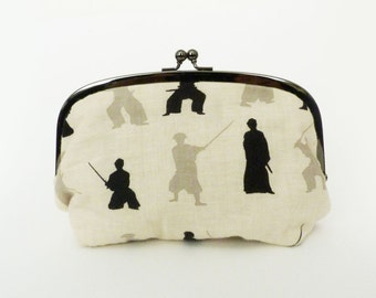 Cosmetic bag, samurai fabric, cream and black cotton Japanese samurai design, gadget pouch, travel bag, pencil case, cotton pouch