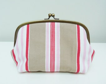 Cosmetic bag, stripe fabric, beige red and pink cotton stripe design, cotton pouch, handbag organiser, travel bag, pencil case, pouch
