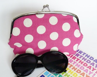 Makeup bag, polka dot fabric, pink and cream polka dot design, cotton pouch, gadget pouch, travel bag, handbag organiser, spotty pencil case