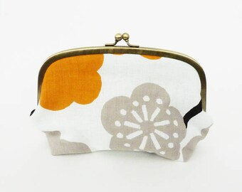 Cosmetic bag, blossom fabric, white grey and mustard cotton Japanese blossom design, cotton pouch
