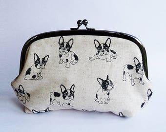 Cosmetic bag, French Bulldog fabric, beige and black Boston Terrier design, cotton pouch, travel bag, handbag organiser, pencil case