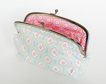 Cosmetic bag, geometric design, soft turquoise and pink cotton purse, pencil case