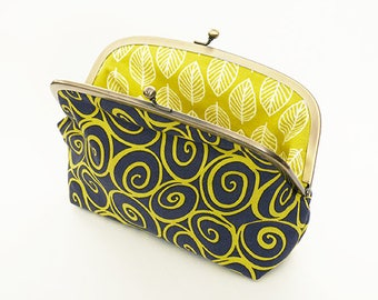 Cosmetic bag, swirl fabric, green and grey cotton swirl design, cotton pouch, pencil case