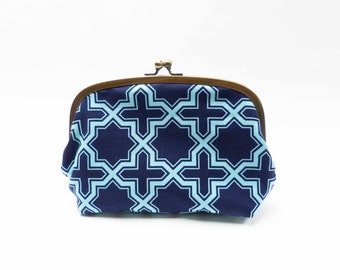 Cosmetic bag, geometric fabric, navy blue and turquoise geometric design, cotton pouch, travel bag, handbag organiser, pencil case, pouch