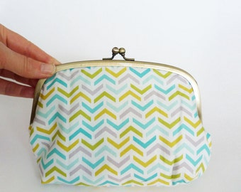 Cosmetic bag, chevron fabric, turquoise green and white geometric design, cotton purse, handbag organiser, travel bag, pencil case