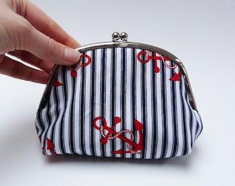 Coin purse, anchor fabric, red white and blue cotton nautical anchor design, cotton pouch, handbag organiser, travel bag, gadget pouch