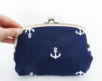 Cosmetic bag, anchor fabric, navy blue and white cotton anchor design, cotton purse, travel bag, handbag organiser, pencil case, gadget bag