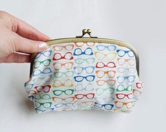 Cosmetic bag, spectacles fabric, multi colour glasses design, cotton pouch, handbag organiser, travel bag, pencil case, gadget pouch