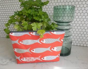 Zipper pouch, fish print makeup bag, fish case, fish travel bag, novelty zip purse, orange and grey cotton storage bag, makeup purse, fish