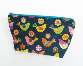 Cosmetic bag, bird fabric, teal multi coloured bird design, cotton pouch