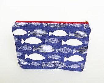 Cosmetic bag, fish fabric, blue and white cotton fish design, cotton pouch, gadget pouch, pencil case