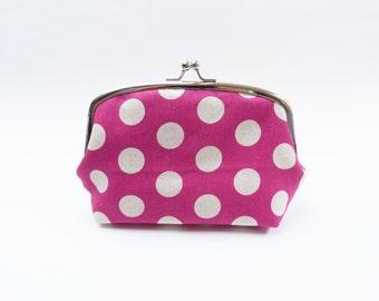 Cosmetic bag, polka dot fabric, pink and cream polka dot design, cotton pouch, gadget pouch, travel bag, handbag organiser, pencil case