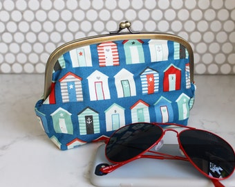 Cosmetic bag, beach hut fabric, red white and blue cotton beach huts fabric, cotton pouch, travel bag, pencil case, gadget pouch