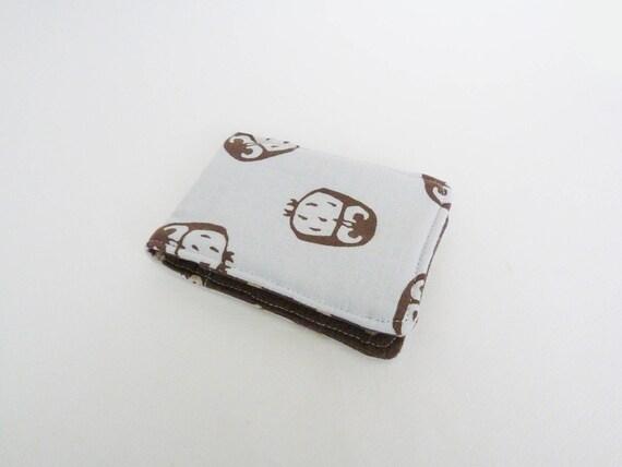 Le cas de carte, tissu hibou, conception de hibou de coton bleu et marron, cas de coton
