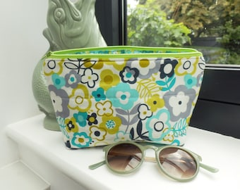 Makeup bag, floral cosmetic bag, lime green and turquoise cotton makeup bag, travel bag, gifts for her, floral purse, travel gift, flowers
