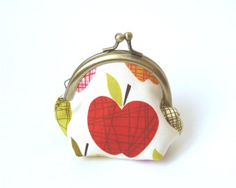 Coin purse - Apple Fabric Coin Purse with Green and Cream Polka Dot Lining
