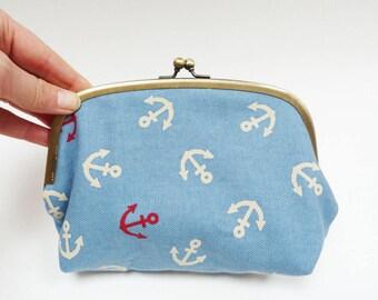 Cosmetic bag, anchor fabric, red white and blue cotton anchor design, cotton purse, handbag organiser, travel bag, pencil case, gadget pouch