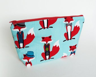 Cosmetic bag, fox fabric, turquoise and red cotton fox design, cotton pouch
