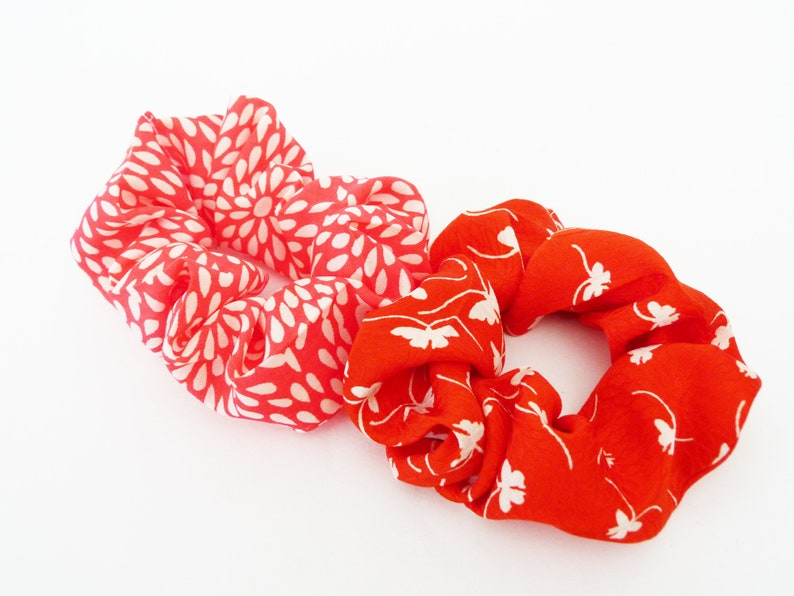 Two hair scrunchies hair accessories kimono fabric red and image 0