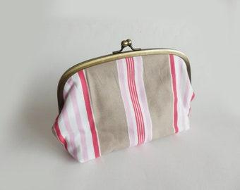 Makeup bag, stripe fabric, beige red and pink cotton stripe design, cotton pouch, handbag organiser, travel bag, pencil case, pouch