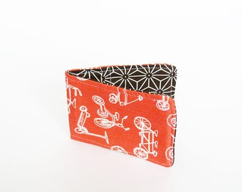 Card case, bike fabric, coral pink and white cotton bicycle design, cotton case