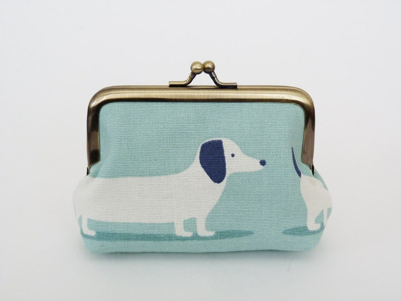 Sausage dog coin purse  blue and white cotton dachshund print  dog lover gift  cotton pouch  sausage dog gifts  dachshund print  dogs
