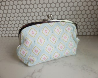 Cosmetic bag, geometric design, soft turquoise and pink cotton purse, pencil case, travel bag, gifts for her, Mother's Day gift, mum gift