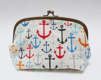 Cosmetic bag, anchor fabric, red white and blue cotton nautical anchor design, cotton pouch, handbag organiser, travel bag, pencil case