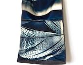Large tote bag, shoulder bag shopper, hobo, market bag, storm landscape, feather, blue stripe
