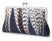 Feather stripe clutch bag, navy silk purse with chain handle