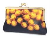 Yellow flower pods clutch bag, silk purse with chain handle